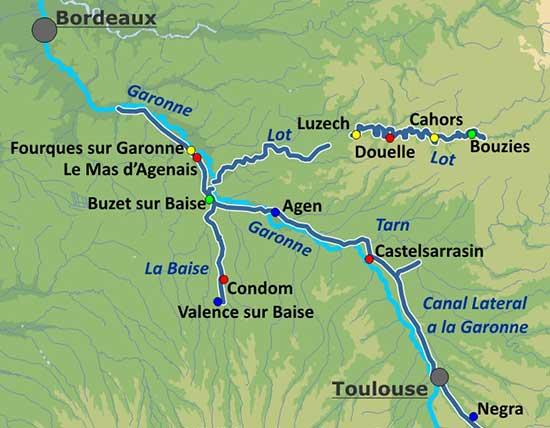 Karte: Hausboot fahren im Aqutaine auf dem Laot, der Garaonne und der Baise