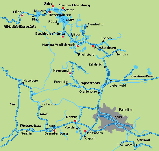 Bootsrevier Deutsachland: Hausboote in Mecklenbrug und Brandenburg - Ausgangsorte für Hausboot-Miete
