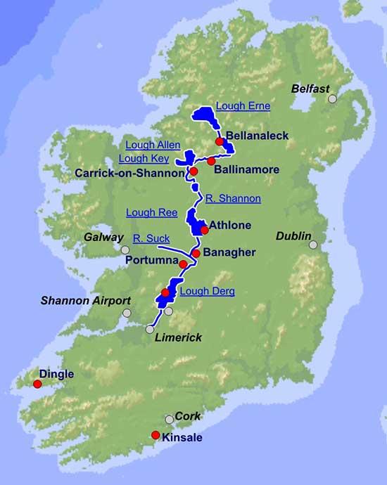 Irland Karte Städte.Hausboot Chartern In Irland Auf Dem Shannon Bootsurlaub