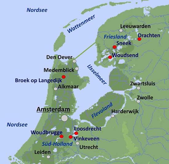 Hausboot-Revier Holland - Übersichtskarte