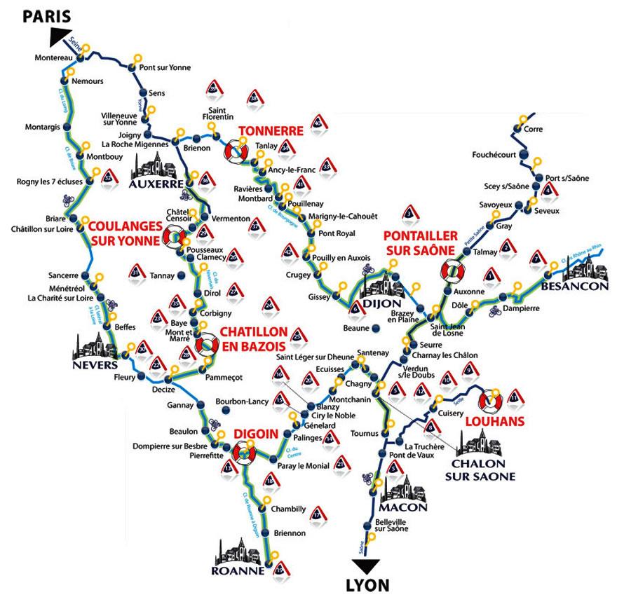burgund karte Hausboot mieten im Burgund   Karte mit den Mietstationen