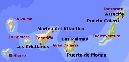 Kanaren Inseln Karte.Yachtcharter Kanarischen Inseln Kanaren
