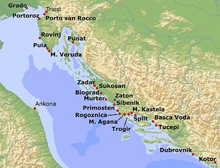 Karte Kroatien Pula.Yachtcharter In Kroatien Alle Charterstationen