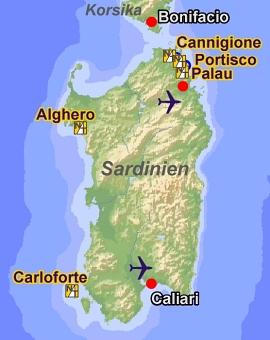 Yachtcharter Sardinien Karte